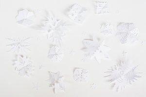 Christmas white snowflake origami