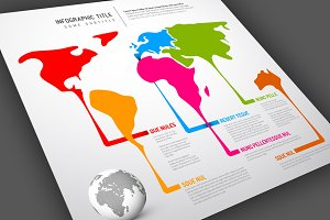 World Map Infographics Template 3
