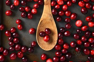 Cranberries and Wooden Spoon