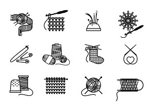 Knitting, embroidering, sewing icons