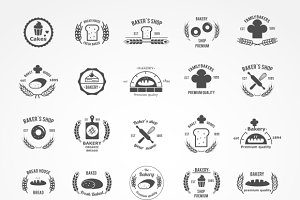 Vector set of vintage bakery logos