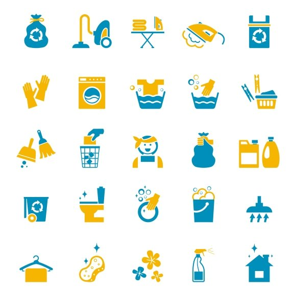 Washing and cleaning icons
