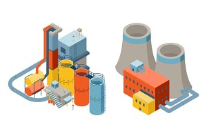 Industrial factory 3d buildings