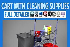 Cart with Cleaning Supplies