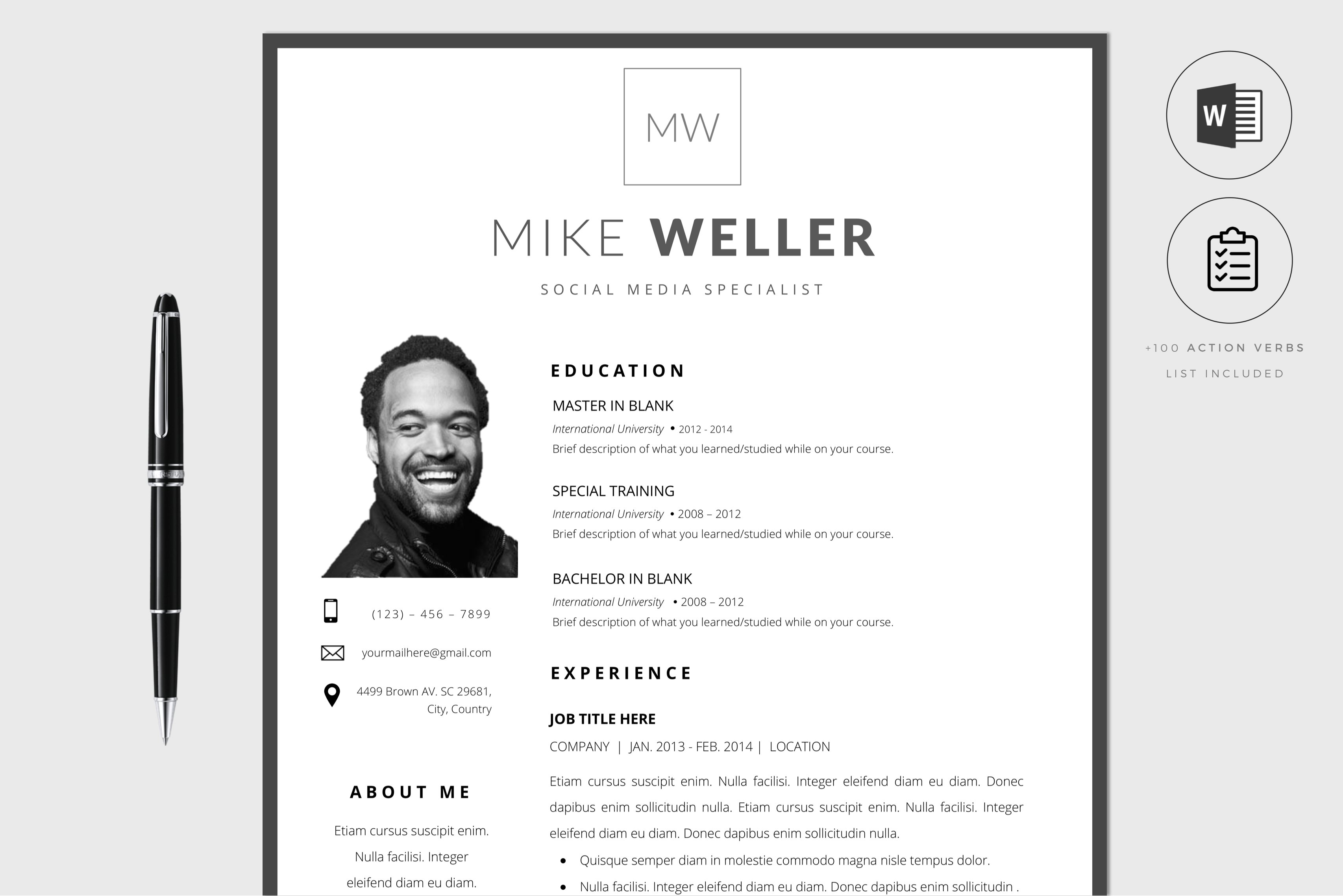 Blank Resume Template Word from images.creativemarket.com