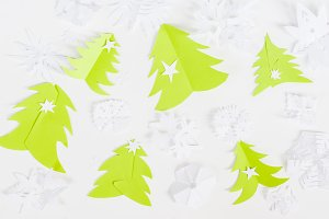Christmas paper origami background