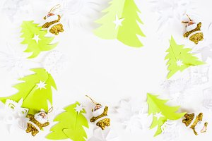 Christmas origami white background