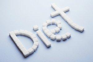 Diet sugar cube text