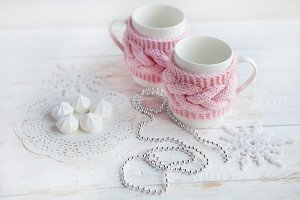cup of hot tea   with sweets