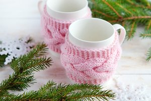 cup of  tea   with  christmas decor