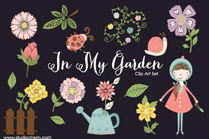 In My Garden .PNG Clip Art Set
