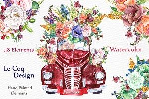 Watercolor floral clip art