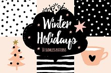 Winter Holidays seamless patterns