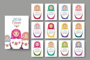 Calendar with nested dolls 2016