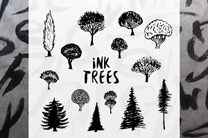 Ink Trees Vector Set