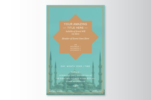 Islamic Geometric Flyer Template Flyer Templates on Creative Market – Geometric Flyer Template