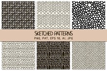 6 Black Sketched Seamless Patterns