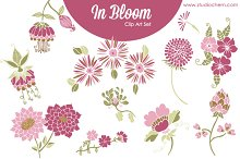 In Bloom Pink Florals .PNG Clip Art