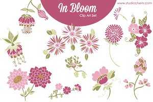 In Bloom Pink Florals .PNG Clip Art