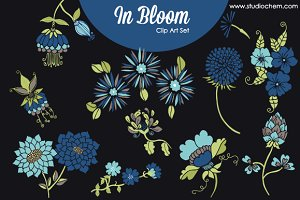 In Bloom Blue Flowers .PNG Clip Art