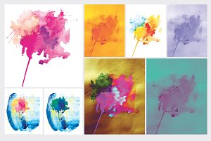 Abstract watercolor flowers.