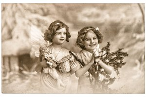 Angel girls. Vintage Christmas Card