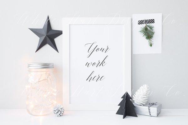 Christmas styled frame mock up
