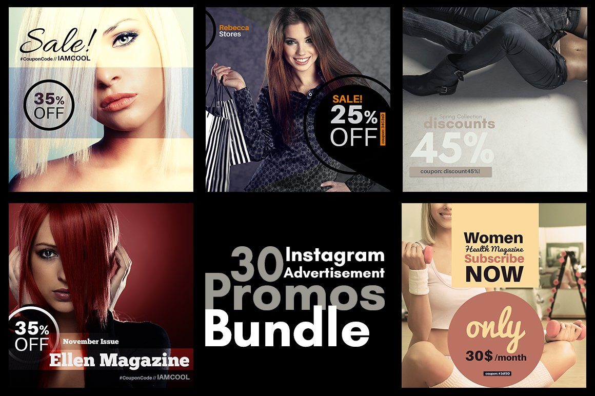 Instagram Advertisement Promos Templates Creative Market - Instagram ad template