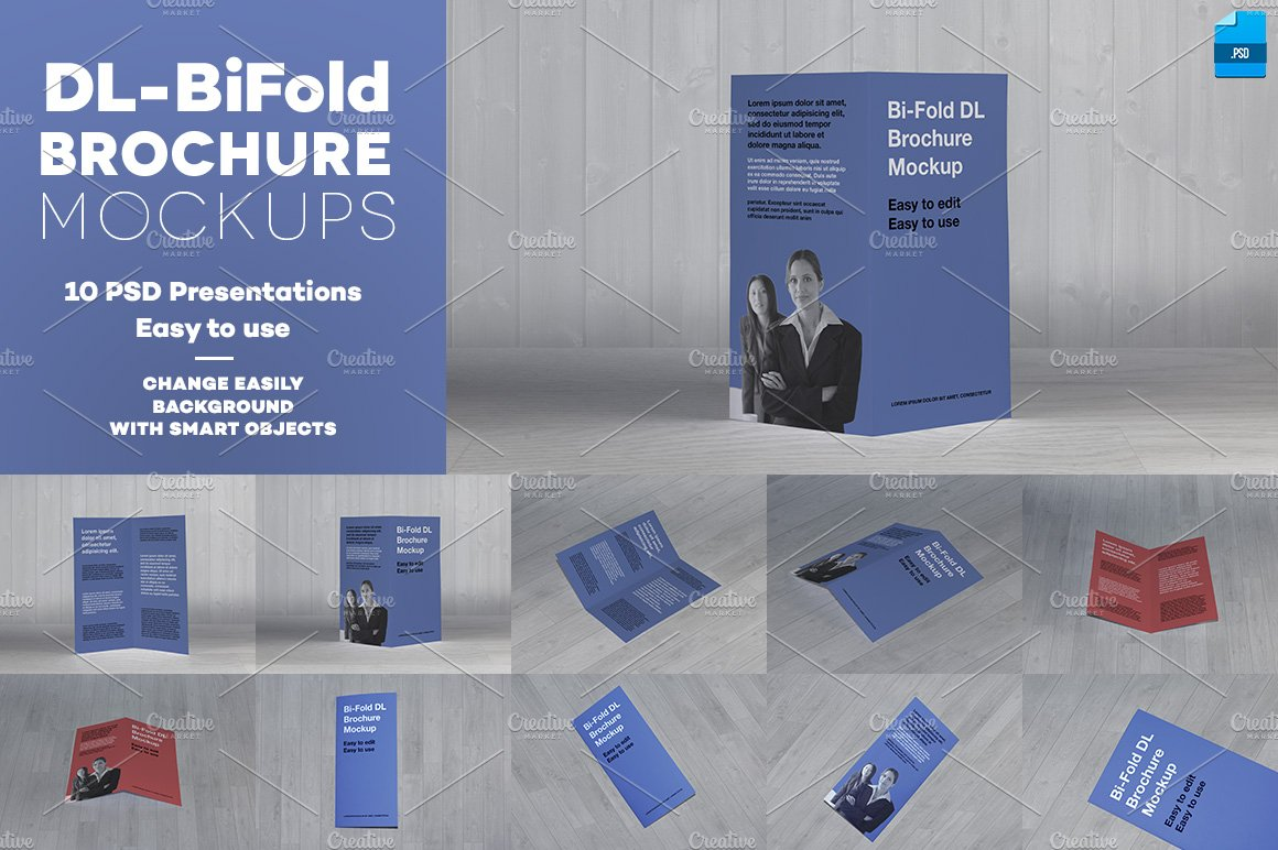 Dl Bi Fold Brochure Mockup Product Mockups Creative Market
