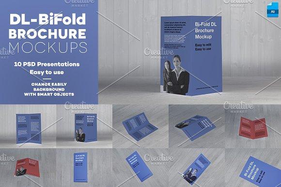 Dl bi fold brochure mockup product mockups on creative for Bi fold brochure template word