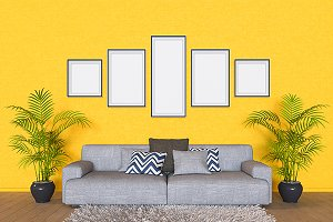 3D illustrations wall with pictures