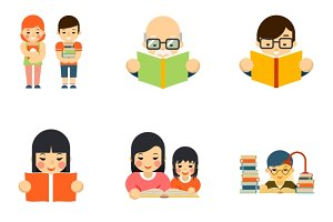 Icons set of people reading book