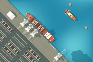 Illustration of a cargo port