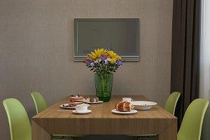 Design interior kitchen. 3D render