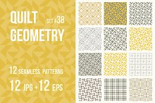 Quilt Geometry #38, grey and yellow