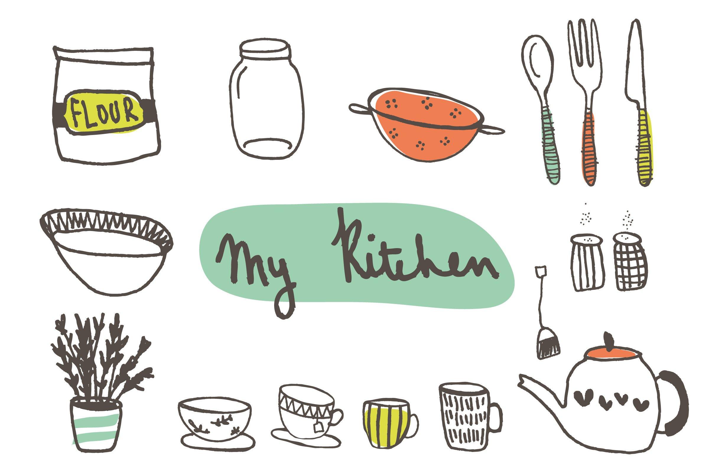 Hand Drawn Kitchen Clip Art Illustrations Creative Market