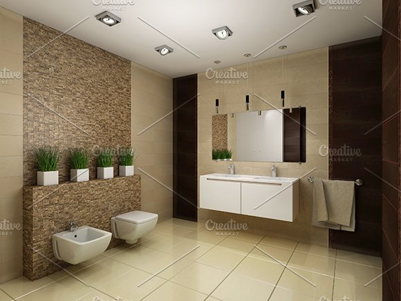 Deco Salon Vert Bambou : D render of the modern bathroom illustrations