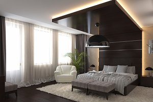 3d render modern bedroom