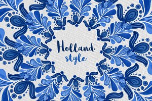 Holland Blue Watercolor ornament