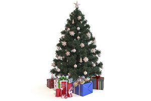 3d render Christmas Tree with gifts