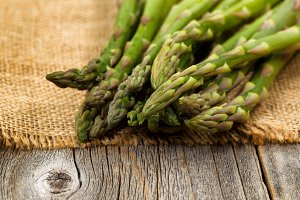 Fresh Asparagus on napkin