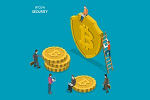 Bitcoin security isometric concept