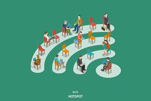 Wi-fi hotspot isometric concept