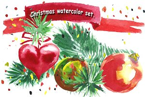 Watercolor Christmas set.