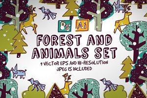Forest and animals vector set