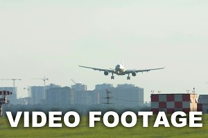 Touchdown of an airplane the airport