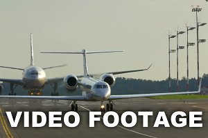 Two airplanes on the air strip