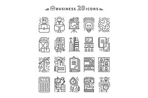Set of Black Business Icons