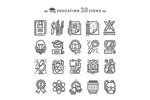 Set of Black Education Icons
