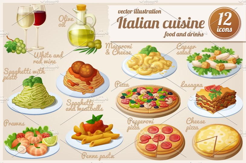 Italian food cartoon vector icons objects creative market for Italian meals